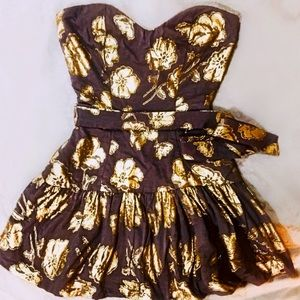 Bronze and Floral Gold Lame Strapless Dress NWOT